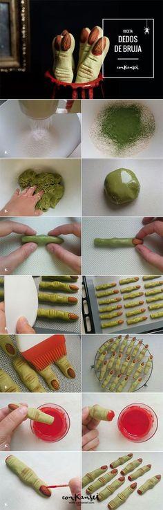 Receta para Halloween: galletas con forma de dedo de bruja. Con té matcha como colorante y almendras como uñas. ¡Geniales! | Conkansei.com