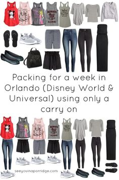 Packing for a week in Orlando (Disney World & Universal) in November - Florida vacation outfits - emily Viaje A Disney World, Disney World Packing, Disney World Outfits, Disney World Vacation Planning, Disneyland Outfits, Disneyland Trip, Disney Planning, Disney World Trip, Disney Trips