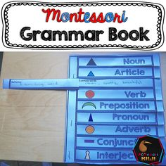 Montessori Grammar book options for use include pre written answers and blank