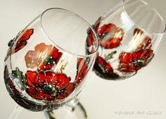 Copas de vino amapolas vidrios pintados copas de vino rojo