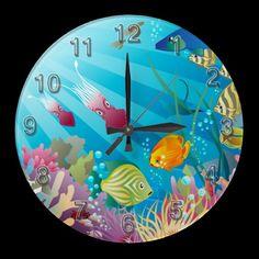 Underwater 2 Wall Clocks Numerals Options