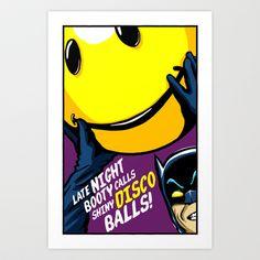"Acid House Adam West in ""Shiny Disco Bats"" Art Print by Butcher Billy"