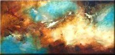 Cuadro abstracto, luminoso y vivaz. Se aprecia una mezcla de colores al óleo muy bien complementados.