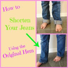 Create Kids Couture: Shortening Jeans using the Original Hem