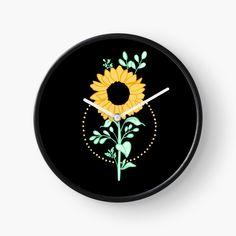 'Sunflower ' Clock by pixelpixelpixel Planting Sunflowers, Quartz Clock Mechanism, Hand Coloring, Clocks, My Arts, Art Prints, Printed, Awesome, Frame
