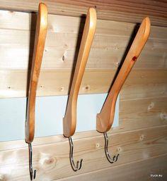 wooden coat hangers into a coat rack