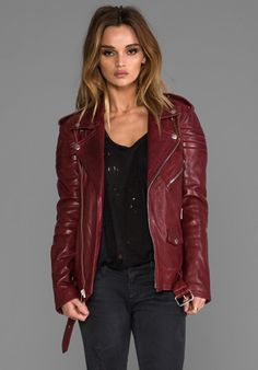 BLK DNM Leather Jacket 8 in Crimson