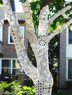 White Crocheted Tree | 15 Yarn Bombs