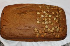 Gluten free Butternut Squash Bread  This bread suits most of my clients following the low fodmap diet for IBS.  Not everyone is a fan of pumpkin seeds in my house so I just scattered some on half the bread!