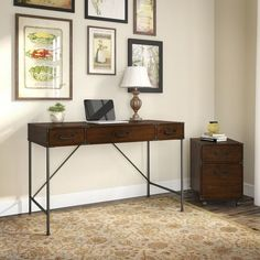 kathy ireland Office Ironworks 48W Writing Desk and 2 Drawer Mobile Pedestal