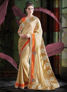 Beige Faux Georgette Designer Saree www.ethnicoutfits.com Email : support@ethnicoutfits.com What's app : +918141377746 Call : +918140714515