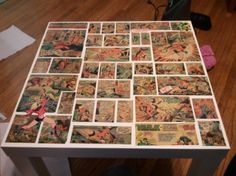 Comic Book Side Table!....instead of comics do with Nat Geo, dictionary or fave book...