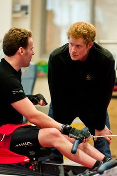 Prince Harry (R) meets Veteran Jonathon (Frenchie) Le Galloudec (L) at the launch of the Invictus Games selection process at Tedworth House on April 29, 2014 in Tidworth, Wiltshire, England.