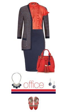Office outfit: Red - Navy by downtownblues on Polyvore featuring polyvore fashion style M&S Michael Antonio clothing