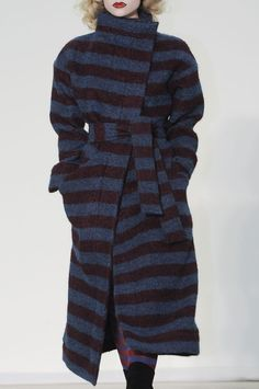 Vivienne Westwood; striped blanket belted trench coat