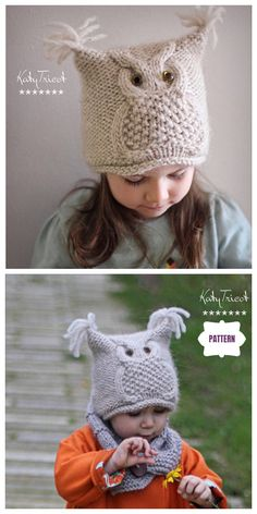 "Kids Owl Hat Knitting Patterns Free & Paid – Owl Hat Knitting Pattern ""Chouette""… – Knitting For Beginners 2020 Owl Knitting Pattern, Baby Hat Knitting Patterns Free, Baby Hats Knitting, Knitting For Kids, Crochet Patterns, Free Pattern, Free Knitting, Crochet Owl Hat, Knitted Owl"