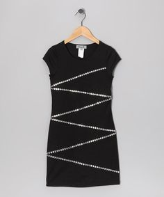 Take a look at this Black Sparkle Zigzag Dress by Elisa B. on #zulily today!