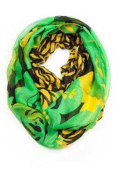 http://shop.necklush.com/collections/infinity-scarf-circle-spring-womens/products/green-yellow-infinity-scarf  A CHARMINGLY CLEVER CIRCLE SCARF WITH JUNGLE PATTERNS OF KIWI GREEN AND BANANA YELLOW. REFRESH YOUR SPRING STYLE WITH THIS SWEET AND ESSENTIAL INFINITY LOOP.