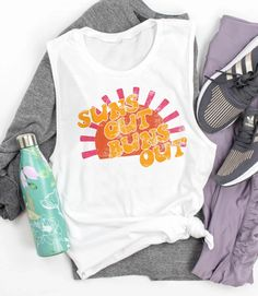 Suns Out Buns Out Muscle Tank - Retro Sunny Vacay Women's Muscle Tank - HighCiti