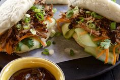Gua Bao Steamed Buns - Make delicious beef recipes easy, for any occasion Gua Bao, Duck Sauce, Steamed Buns, Hoisin Sauce, Asian, Short Ribs, Wrap Sandwiches, Dim Sum, Food Styling