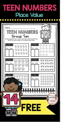 TEEN NUMBERS and place value FREEBIE - free printable to practice grouping numbers #firstgrade #kindergarten #firstgrademath #kindergartenmath