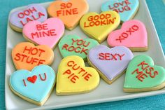 conversation heart cookies - get excited. these are gonna happen this year at Francesca's Kitchen