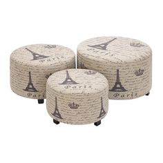Woodland Imports 35018 Handcrafted Wood Accent Ottoman Set