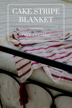 Crochet this simple lacy blanket with self-striping contrast stripes made from cake yarn! My super easy, free pattern also includes a helpful tassel tutorial! Loom Patterns, Stitch Patterns, Knitting Patterns, Crochet Patterns, Blanket Patterns, Crochet Ideas, Crochet Cake, Free Crochet, Knit Crochet