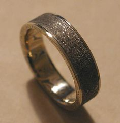 groom, mens wedding band, made from a meteorite, out of this world