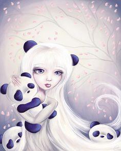 Protection Series - Panda by Paulette Arochena Panda Kawaii, Kawaii Chibi, Cute Panda, Image Panda, Panda Bebe, Panda Illustration, Panda Painting, Panda Nursery, Panda Art