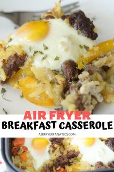 Make a tasty breakfast right in your air fryer with this Air Fryer Breakfast Casserole! This is a #GlutenFree meal that is perfect for a quick morning breakfast. #AirFryer #AirFryerRecipes #AirFryerFanatics