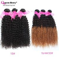 Hot 7A Brazilian Kinky Curly Virgin Hair Ombre Brazilian Curly Hair Weave Three Tone Color&1B 3PC 100% Queen Berry Human Hair