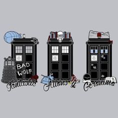 The TARDIS for each of the Doctors.