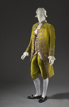 Man's Suit France, 1780-1785 Costumes; principal attire (entire body) Coat and breeches: silk cut and uncut velvet on twill foundation with ...