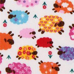 cute colourful sheeps fabric with glitter Kokka Japan