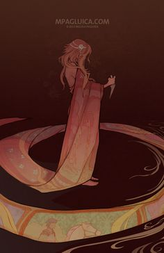 """Rapunzel by Melissa Pagluica(DarkSunRose, US):""""The story of Rapunzel always intrigued me in that there is a simplicity to it that would be fun to make more complicated. A maiden locked in a tower who had hair long enough she was able to use to let others in yet at any time she could have cut it and used it as her own escape. I think it can serve to remind us that we can place ourselves in towers unknowingly. And that we have the power to do something about it once we realize it.""""{digital…"""