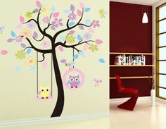 WallStickersDecal® Elefanten, Giraffen, Löwen, Affen & Eule spielen auf Baum Wandtattoo Aufkleber Wandaufkleber: Amazon.de: Baby