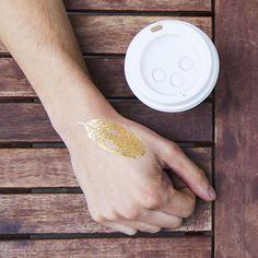 Tattly™ Designy Temporary Tattoos. — Quail Feather (Gold)