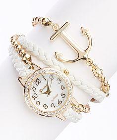 Loving this White Anchor Bracelet Watch on #zulily! #zulilyfinds