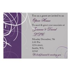 21 best open house invitation wording images on pinterest elegant purple corporate party invitation stopboris Image collections