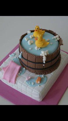Duckies in tub fondant cake. Pretty Cakes, Cute Cakes, Gateaux Cake, Novelty Cakes, Fancy Cakes, Love Cake, Cake Creations, Creative Cakes, Celebration Cakes