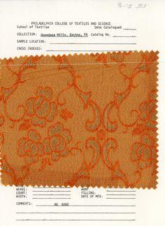 Onondaga Mills woven sample. Easton, PA. Mid-20th century.