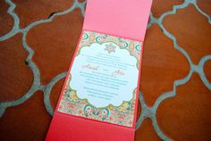 Persimmon & Turquoise Indian Wedding Invitation by EmilysEventsEtc
