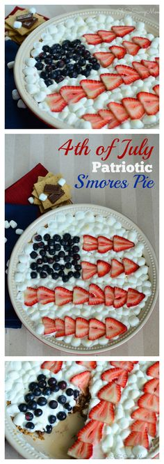 of July S'mores Pie! This S'mores Pie dessert with strawberries, blueberries, marshmallows, and chocolate is to die for! Perfect Fourth of July treat! Best Dessert Recipes, Pie Recipes, Easy Desserts, Delicious Desserts, Vegan Desserts, Summer Recipes, Holiday Recipes, Holiday Treats, Fourth Of July Food