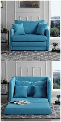 Ten sleeper chairs that turn any space into a guest room in a snap - This blue accent chair easily converts into a twin-size bed. Twin Sleeper Chair, Chair Bed, Diy Chair, Guest Bed, Guest Room, Cama Murphy, Home Furniture, Furniture Design, Furniture Online