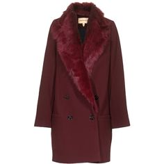 TWENTY8TWELVE Lissett Bordeaux Oversize coat with faux fur trim ($310) ❤ liked on Polyvore featuring outerwear, coats, jackets, coats & jackets, double breasted coat, red coat, burgundy coat, fur collar long coat and faux fur trim coat
