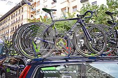 The Spanish teams bikes on the team car just before the Alicante stage of the Vuelta a la Comunidad Valenciana cycle race.