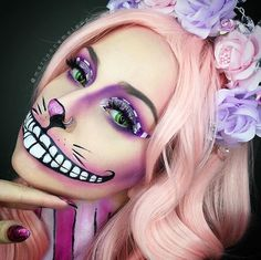 cheshire cat halloween makeup ideas for women, disney character halloween makeup looks, Alice in Wonderland character halloween makeup inspiration ideas, purple halloween makeup ideas cheshirecathalloweencostume Chat Halloween, Cat Halloween Makeup, Halloween Makeup Looks, Costume Halloween, Cheshire Cat Halloween Costume, Cheshire Cat Cosplay, Halloween Costumes Women Creative, Purple Halloween, Cheshire Cat Makeup