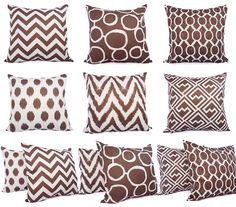 This listing is for ONE brown decorative pillow cover in popular chevron, ikat, or geometric print! This throw pillow cover can be made to fit