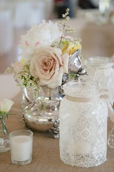 Lace wrapped mason jar.. clever way to add some texture into your wedding